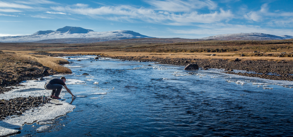 Filling up water in Western Iceland