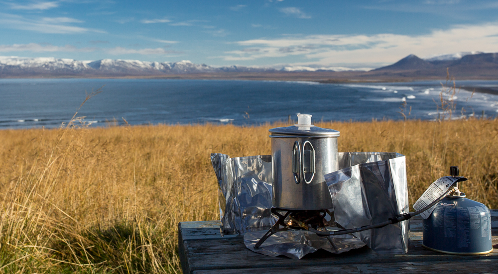 Backpacking stove lunch in iceland