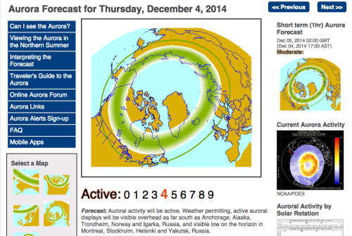 Sample aurora forecast from the University of Alaska Fairbanks